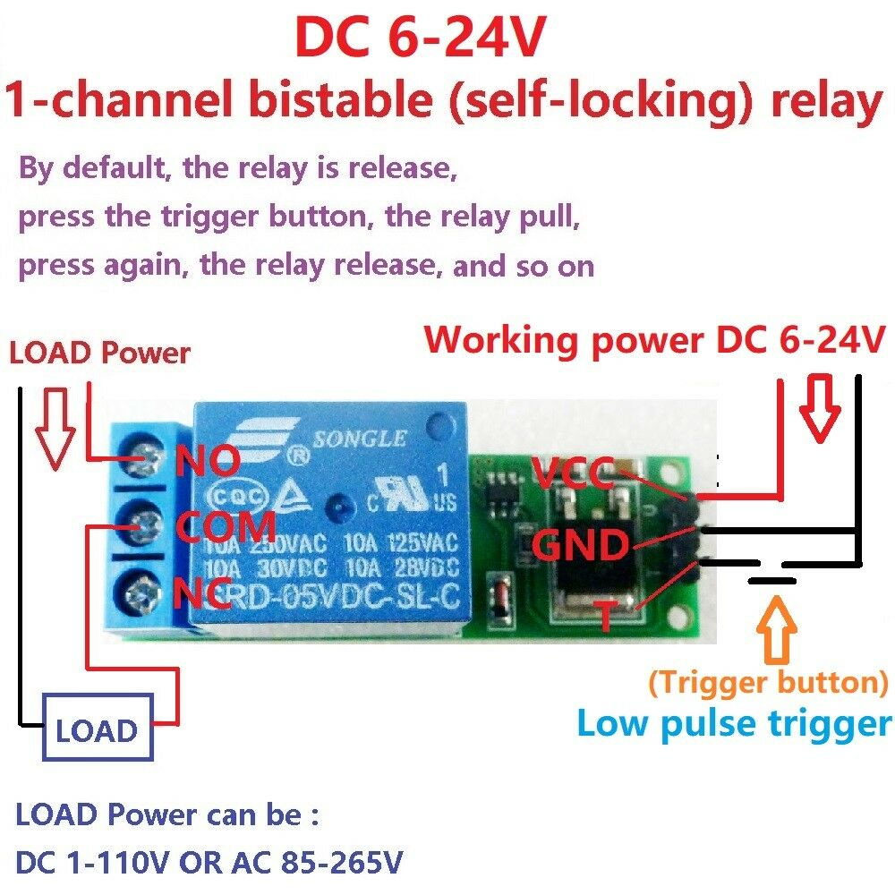 Dc 6 24v Latch Relay Module Flip Flop Bistable Self Locking Trigger Latching Circuit 1ch 5v Switch Board