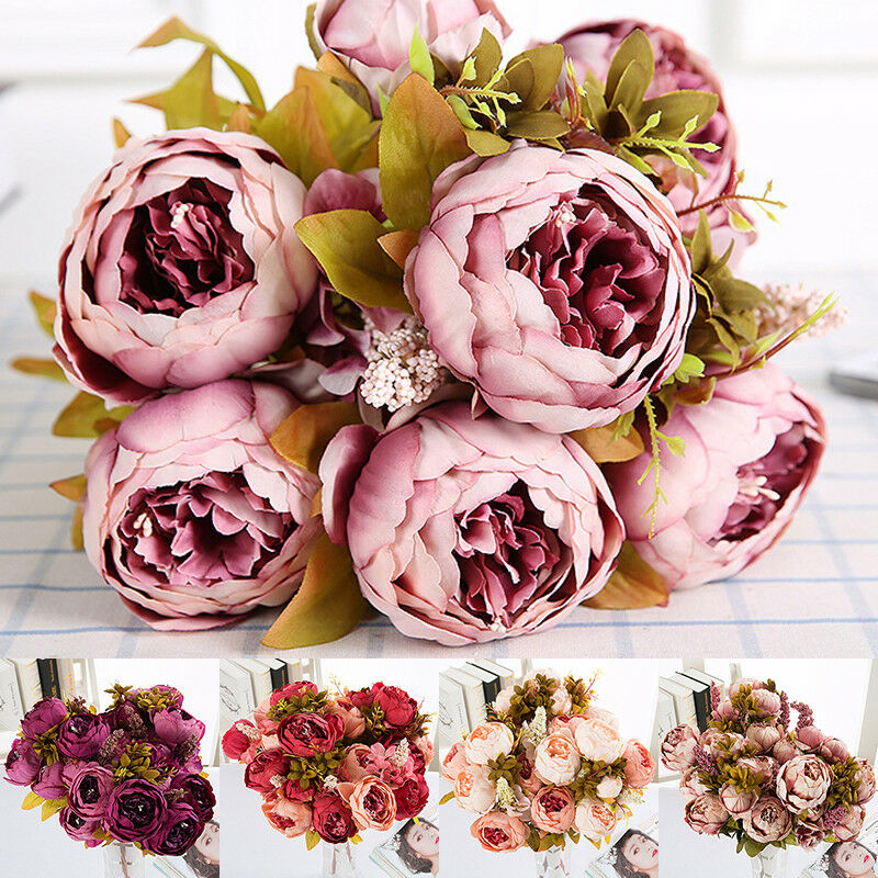 13 Heads Silk Peony Artificial Flowers Peony Wedding Bouquet Home