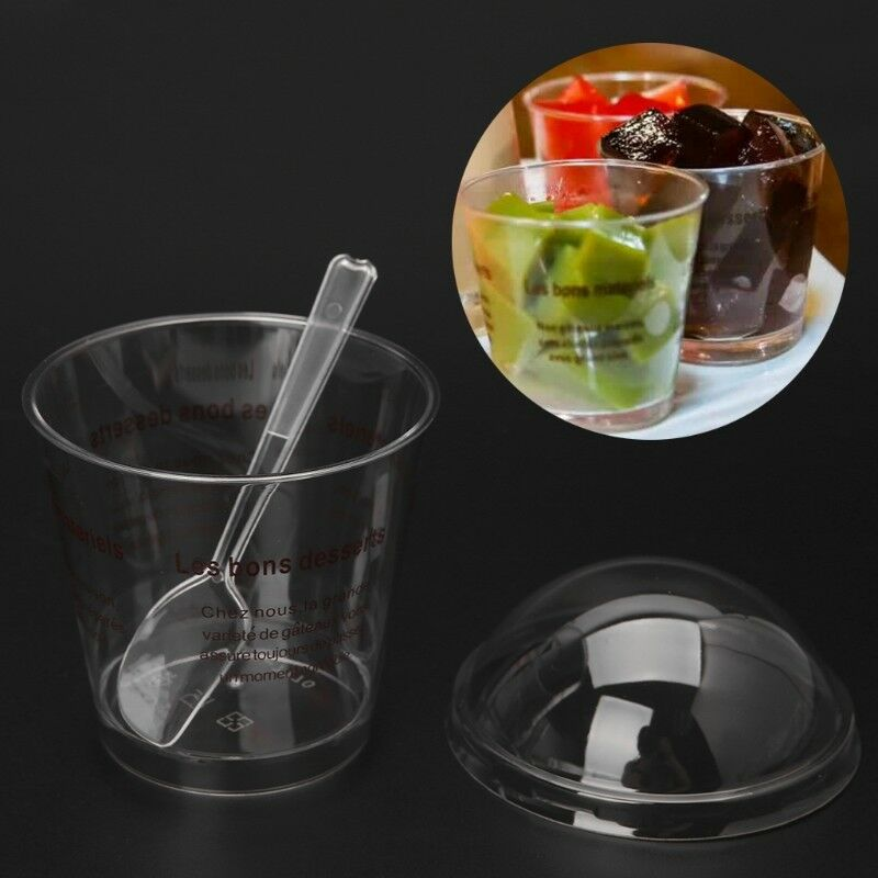 10Pcs Disposable Hard Plastic Pudding Dessert Cup With