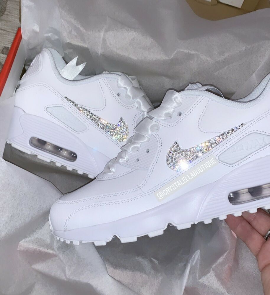 f8ff629b5147 Details about Customised Crystal Nike Air Max 90 s in White Nike Swarovski  Crystal Trainers.