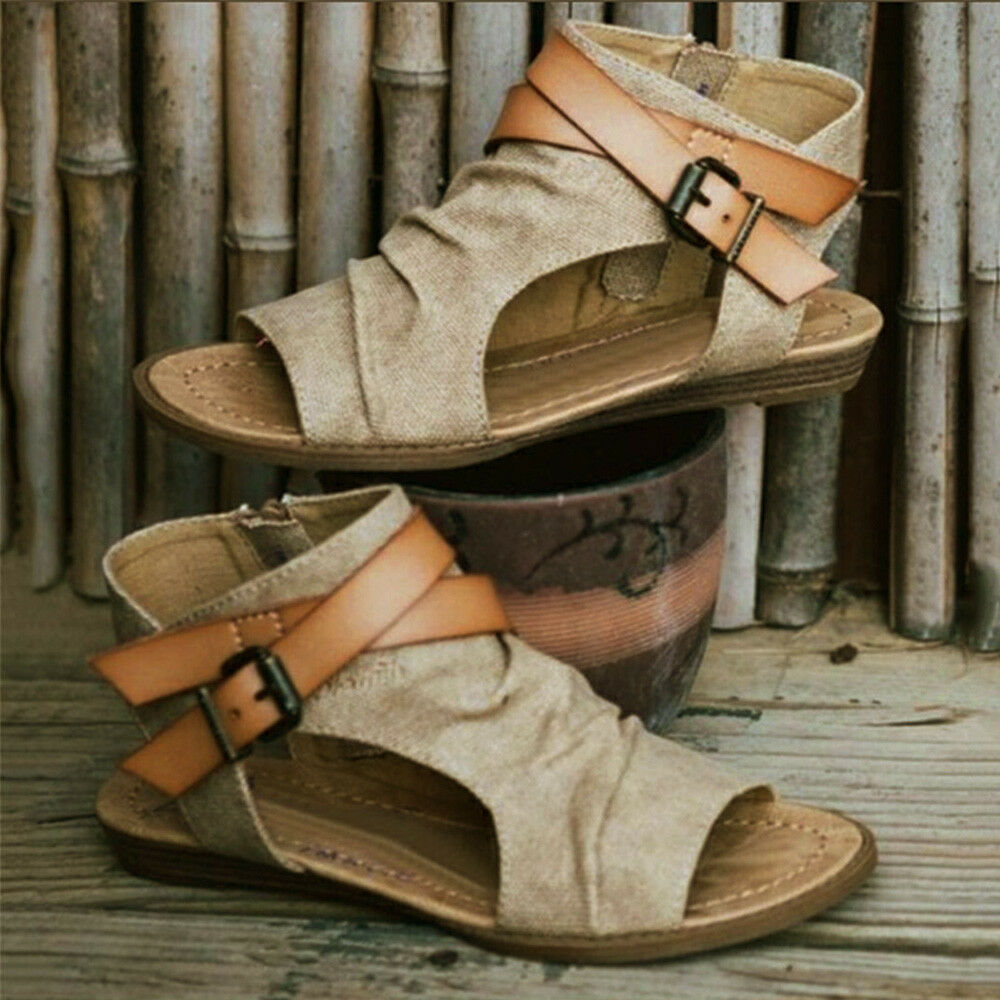 22d2046f5750b Details about Womens Gladiator Ankle Strap Pumps Shoes Summer Open Toe  Casua Sandals Flat