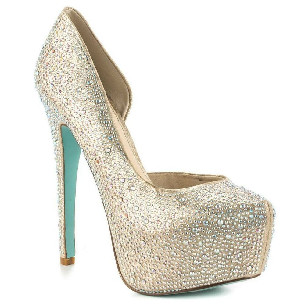 4c49898ab Details about Blue By Betsey Johnson Star Platform Heels Champagne Women's Wedding  Shoes 7