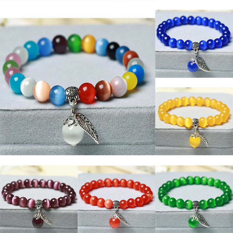 Details About Woman S Fashion Cat Eye Crystal Lap Gl Beads Charm Beaded Bracelet Jewelry
