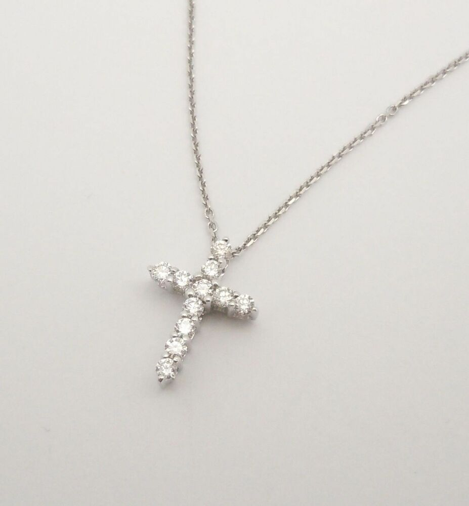 14k wg prong set natural diamond cross necklace. Black Bedroom Furniture Sets. Home Design Ideas