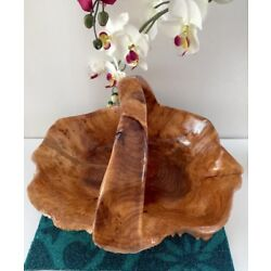 HAND CARVED SHAN MU TREE BURL ROOT WOODEN BASKET size XL 716
