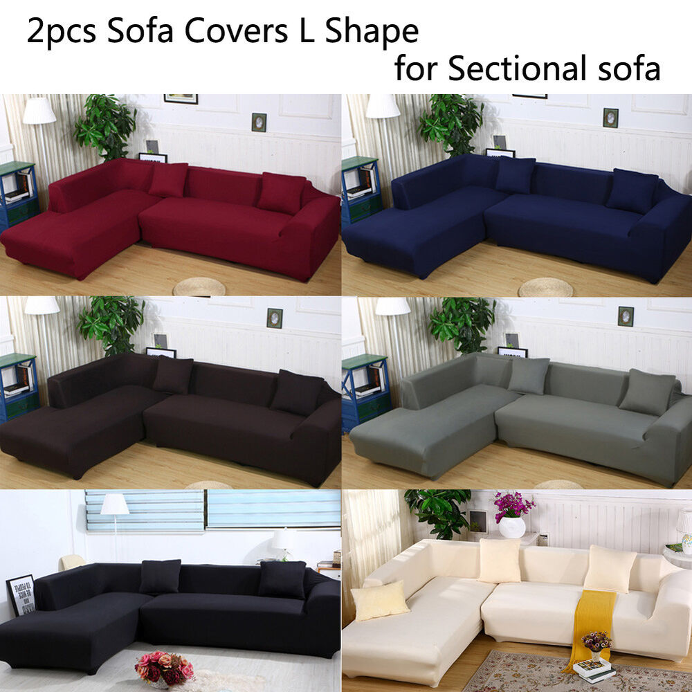 New Slipcover Stretch Sofa Cover Sofa With Loveseat Chair: 2pcs L Shape Sofa Covers Polyester Fabric Stretch
