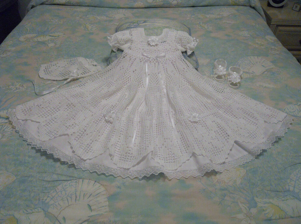 White Crochet Christening Gown Bonnet Sandalscotton Slip Size 3