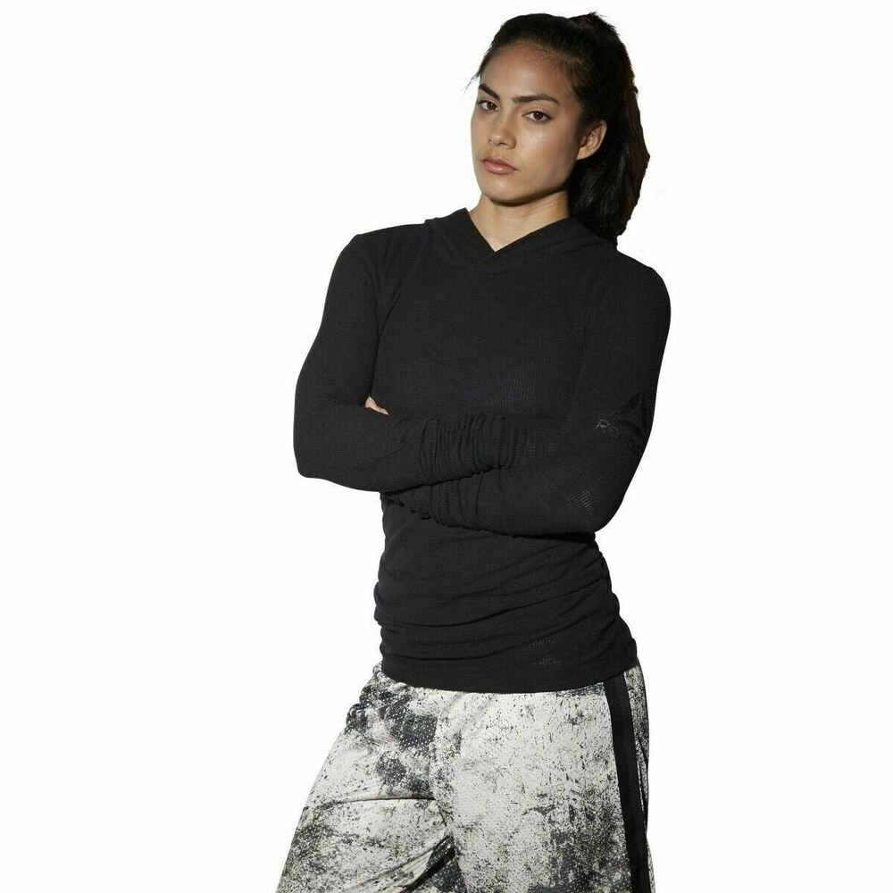 9f45d8aa Details about [B10680] New Women's REEBOK The Noble Fight Long Sleeve Waffle  Hoodie - Black