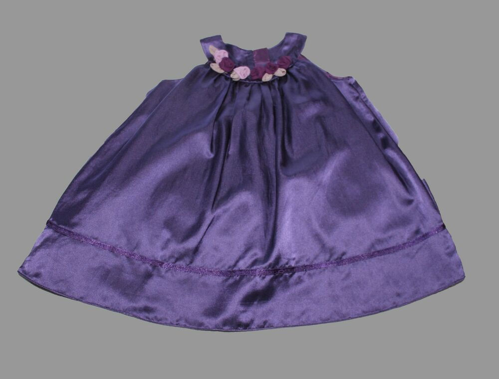 MONSOON Purple Satin Baby Girls Dress Bridesmaid Wedding Party 18 24 ...