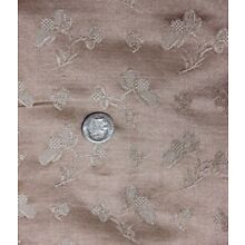 Antique French 19thC Peach Floral Patterned Silk Fabric c1890~Dolls*~L-27XW-25