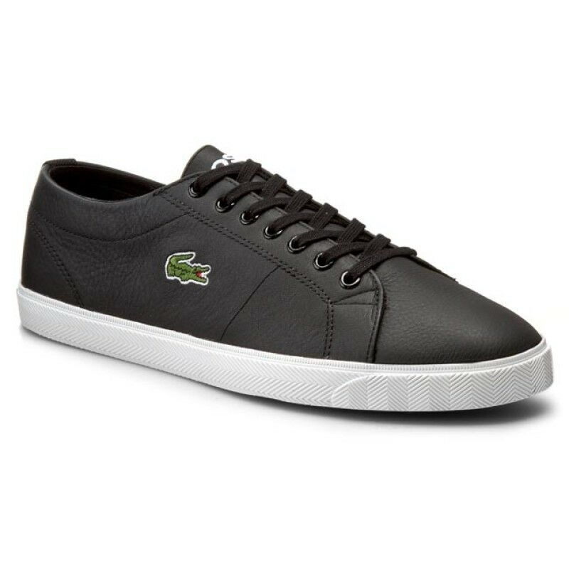 4a2a7c014af38 Details about Lacoste Men s Marcel Riberac LCR3 SPM Leather Shoes Trainers  - Black
