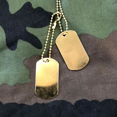 img-US GI Vietnam style American Army Metal Dog Tags Gold finish x 1 Pair