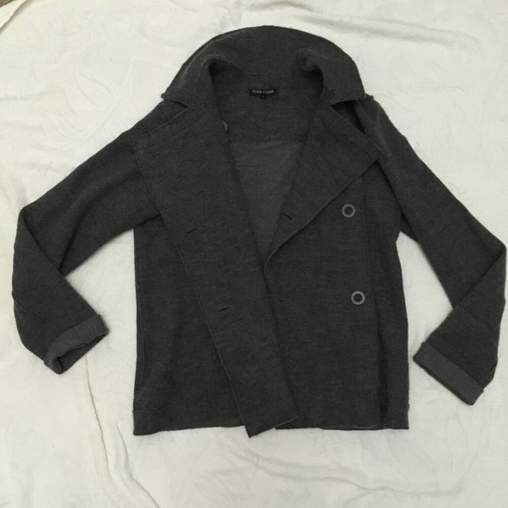 Eileen Fisher Gray 94% Merino Wool Double Breasted Pea Coat Jacket Womens M  | eBay