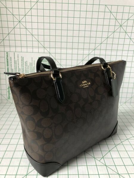 Coach F29208 Signature Coated Canvas Zip Top Tote Bag In Brown/Black
