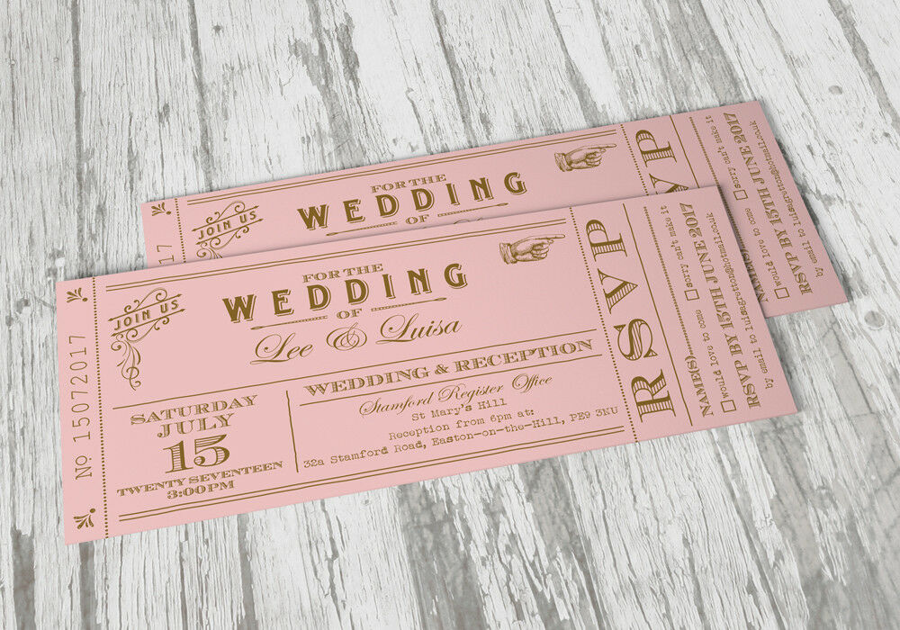 50 Personalised Vintage Shabby Chic Ticket Wedding Invitations The