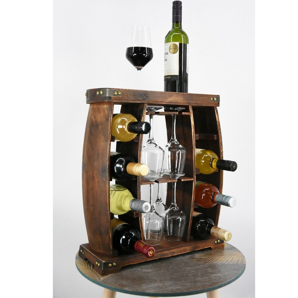 Wooden Wine Rack Bottle Glass Holder Cabinet Natural Wood Display