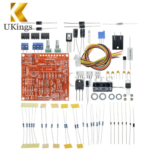 Red 0-30V 2mA-3A Continuously Adjustable DC Regulated Power Supply DIY Kit PCB K