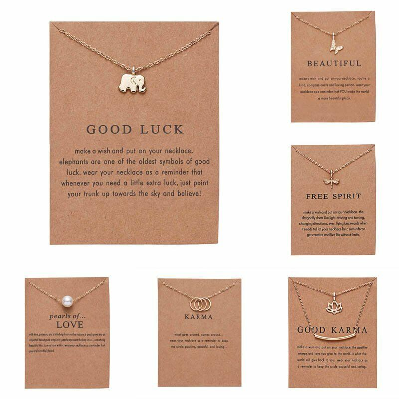 Details about Fashion Pearl Flower Animal Elephant Dragonfly Paper Card Pendant Necklace Gifts