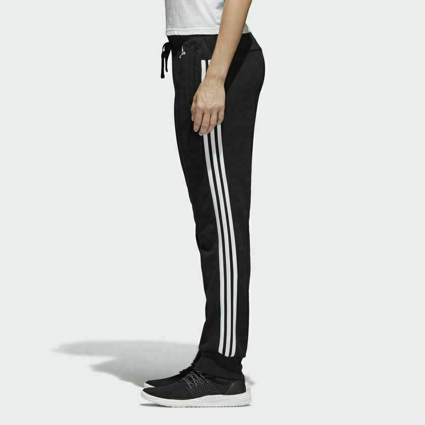 e32b16be48c0 Details about  S97113  Womens Adidas Essential 3-Stripes Closed Hem Slim  Pants - Black