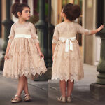 Vintage Lace Kid Pleated Flower Girl Dress for Birthday Wedding Princess Party