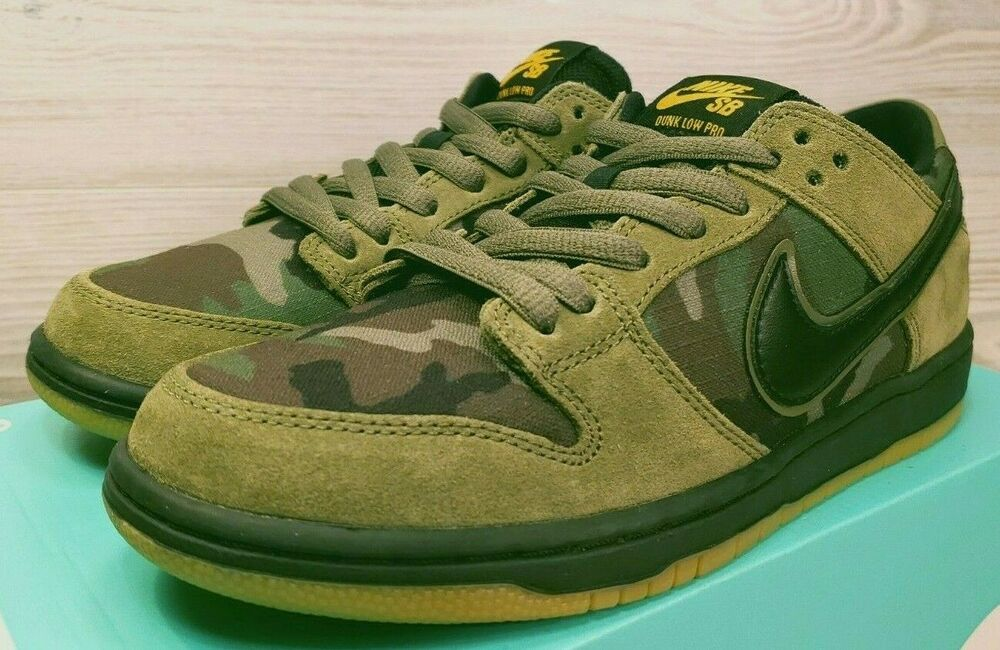 32a39041e5e Details about NIKE SB DUNK LOW PRO OLIVE GREEN BLACK CAMO SKATEBOARDING 854866  209 Pick Size