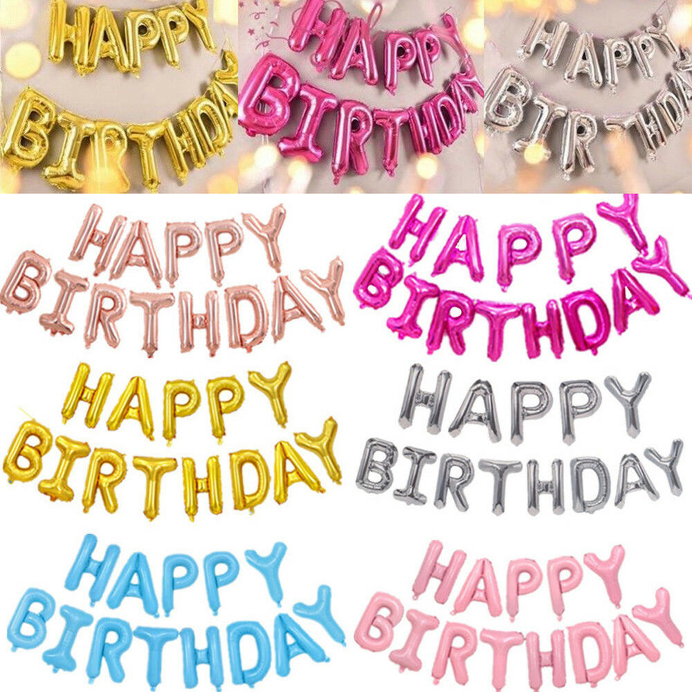 Details About 13PCS Letters Happy Birthday Foil Balloons Party Decorations BANNERS Friend Gift