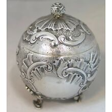 Vintage 19th Century Continental Ladies 800 Silver Inkwell