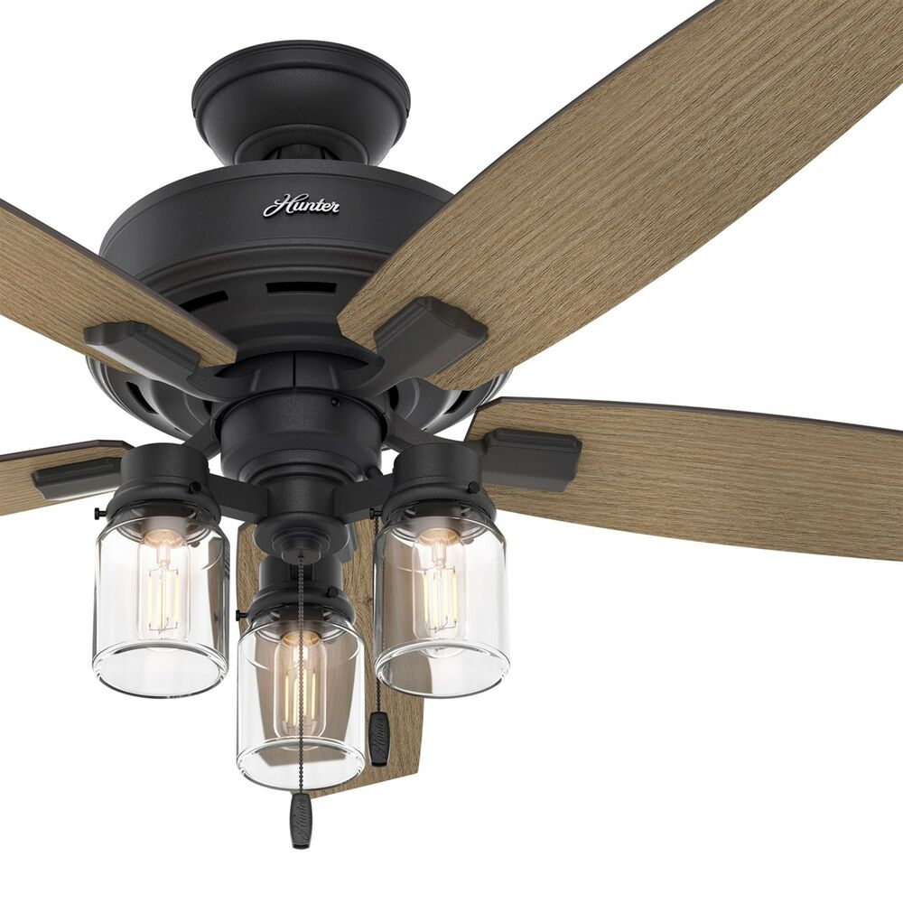 Celing Fans With Lights: Hunter Fan 52 In. Rustic Ceiling Fan With Clear Glass LED