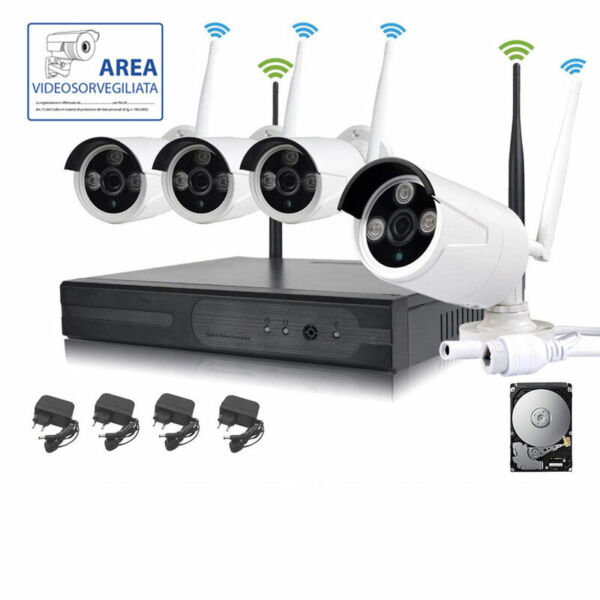 KIT VIDEOSORVEGLIANZA WIRELESS FULL HD IP 4 TELECAMERE 2 MPX 500 GB WIFI DA REMO