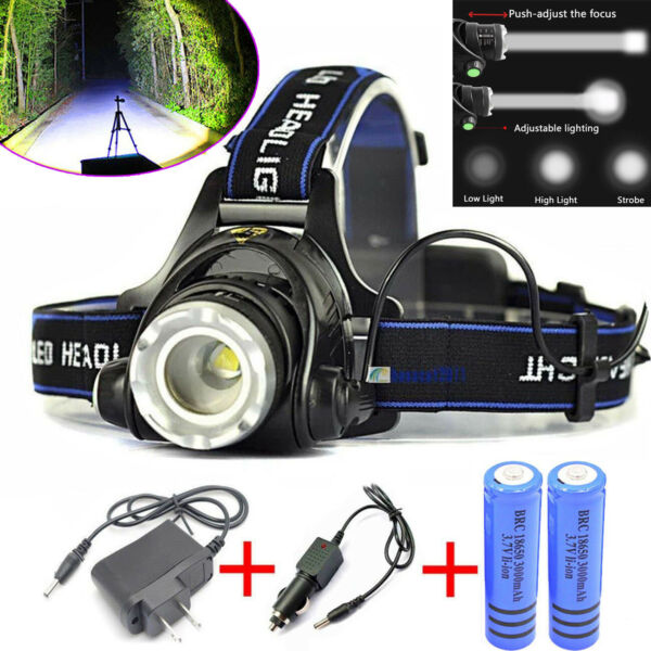 120000 LM 3-Zoom T6 LED 18650 Headlamp Rechargeable Head Light Torch Tactical US