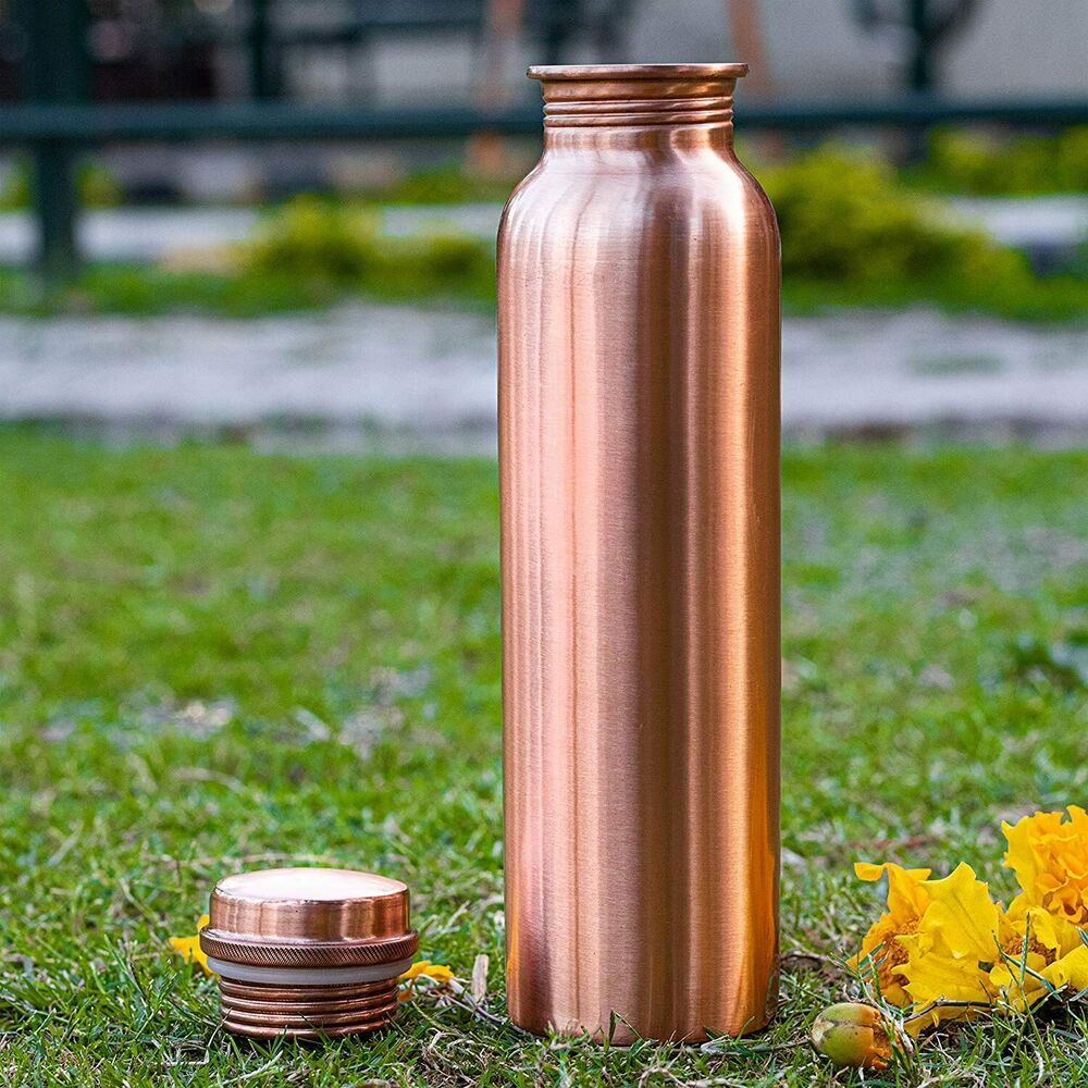 100 Pure Copper Traveler S Water Bottle Flask Thermos