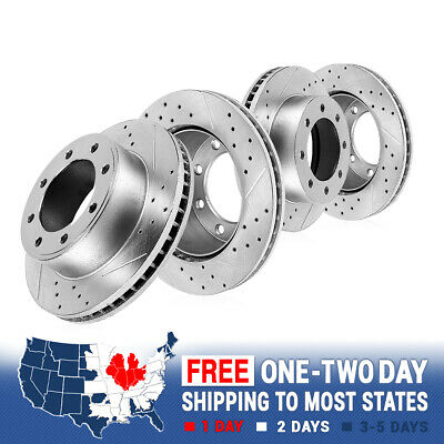 Front And Rear Brake Rotors For 2009 - 2017 Dodge Ram 2500 2009 - 2013 Ram 3500