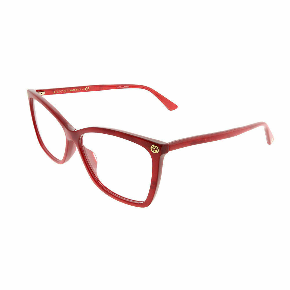 fffaf1ca9480 Details about New Authentic Gucci GG0025O 004 Red Plastic Rectangle  Eyeglasses 56mm