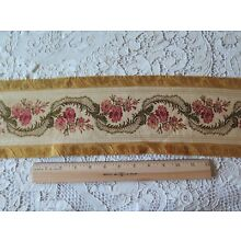 Antique (1870) French Roses & Ribbons Woven Silk Jacquard Border Fabric~2yds13
