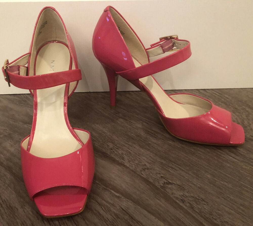 Details about NINE WEST Women s Pink Patent Leather  NWLEX  Peep Toe Mary  Jane Heel Sz 7.5 NEW d4ac885f54