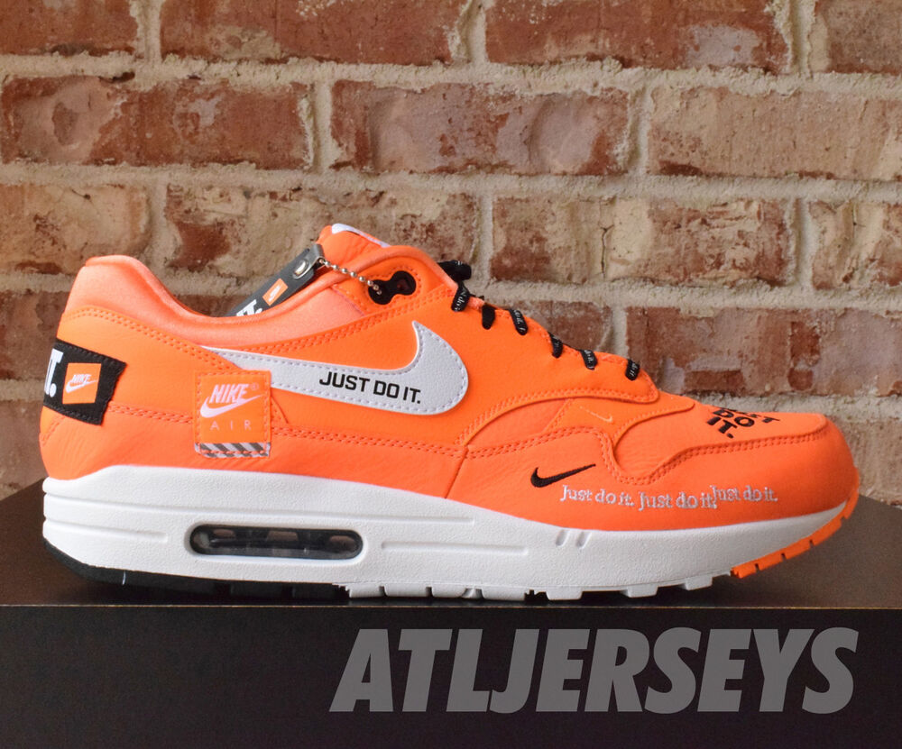 lowest price a1533 05d8b Details about Nike Air Max 1 SE JDI Just Do It Total Orange White Black  AO1021-800
