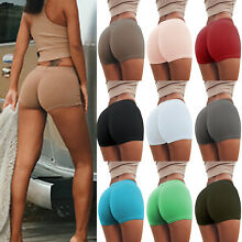 Women Gym Yoga Shorts Plain Sports Fitness Skinny Slim Stretch Hot Pants Trouser