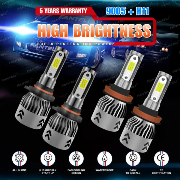 9005 + H11 3020W 453000LM Combo CREE LED Headlight Kit High Low Beam Bulbs 6000K