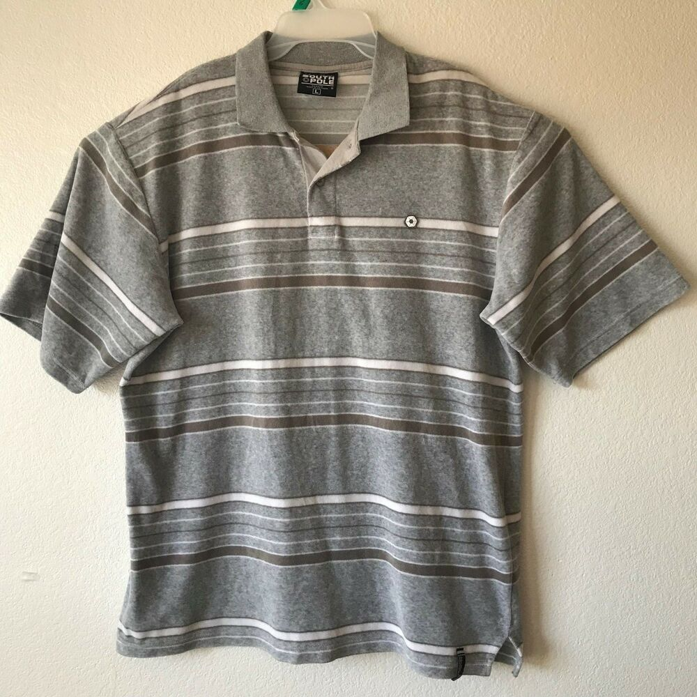 Details about Mens SOUTH POLE Short Sleeve Henley Style Polo Shirt Gray Stripe  Size L 4c7f12972