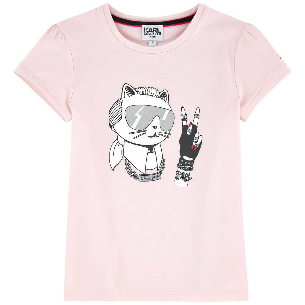 1263ccb88 Details about Girls Karl Lagerfeld Choupette Designer T-Shirt in Pink 6 8  12 Years BNWT Cat