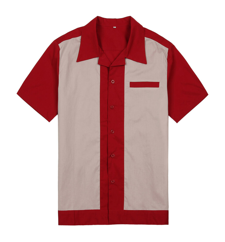 Mens Bowling Shirts Retro Vintage Charlie Sheen Style Rockabilly 50s