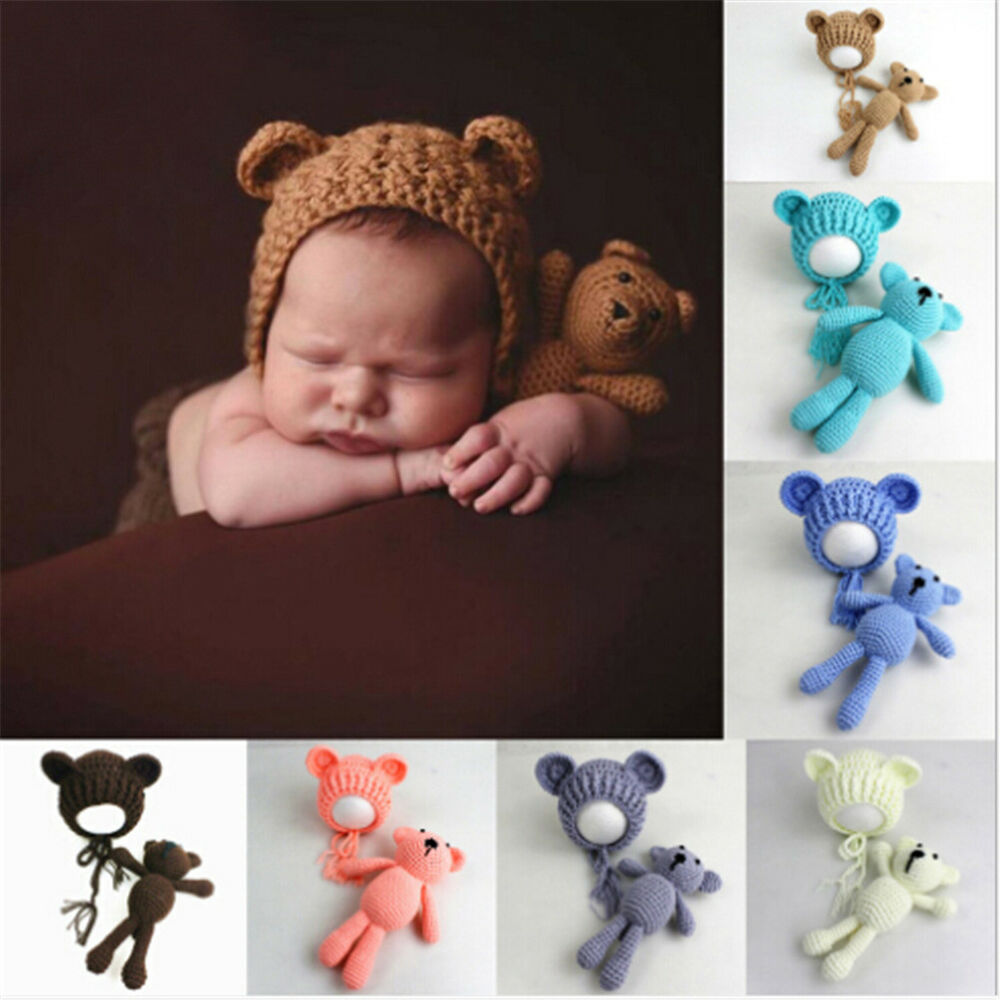 416f544f7c3 Newborn Baby Girls Boy Photography Prop Photo Crochet Knit Costume Bear+Hat  Set%