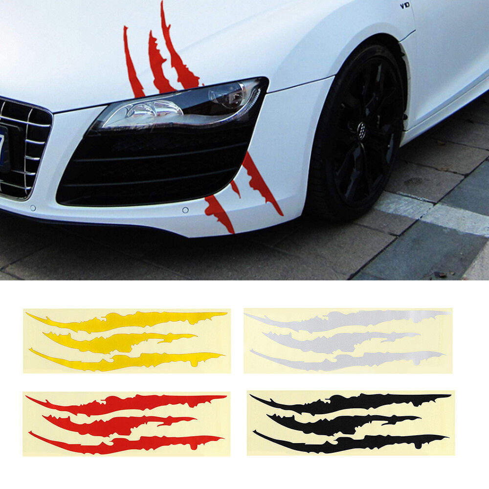 Details about car reflective monster sticker scratch stripe claw marks headlight vinyl decal u