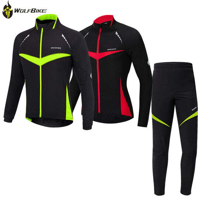 c767f7051 Details about Men Fleece Thermal Winter Cycling Jacket Set Waterproof Windproof  Bicycle Coat