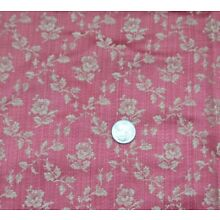Antique 1890 French Raspberry Floral Lyon Silk Fabric Sample~27