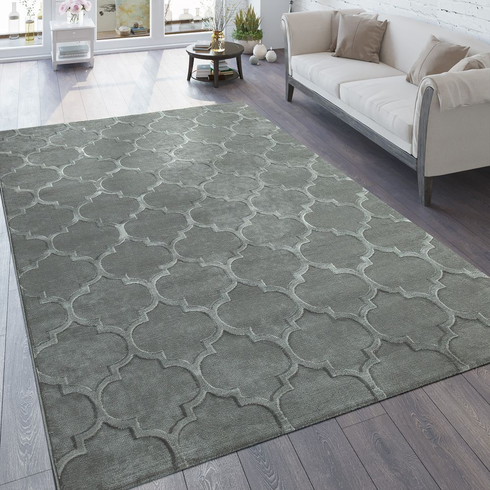 tapis cr ateur moderne motif marocain structure 3d gris. Black Bedroom Furniture Sets. Home Design Ideas