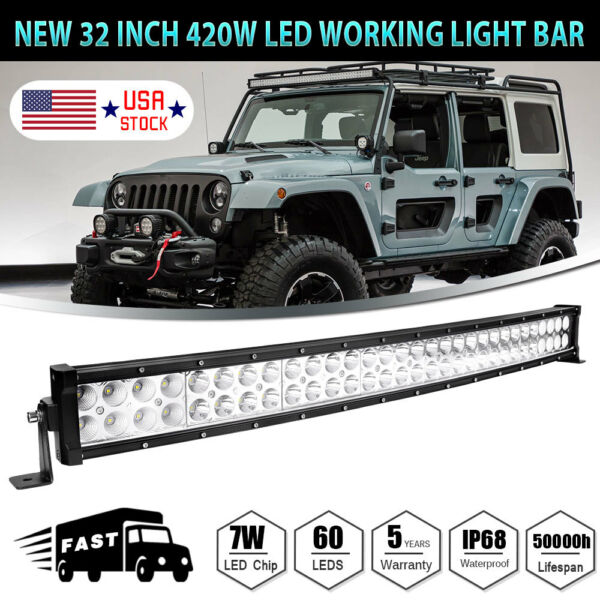 32inch 420W Curved LED Work Light Bar Combo Boat Offroad Jeep Lamp PK 30/34