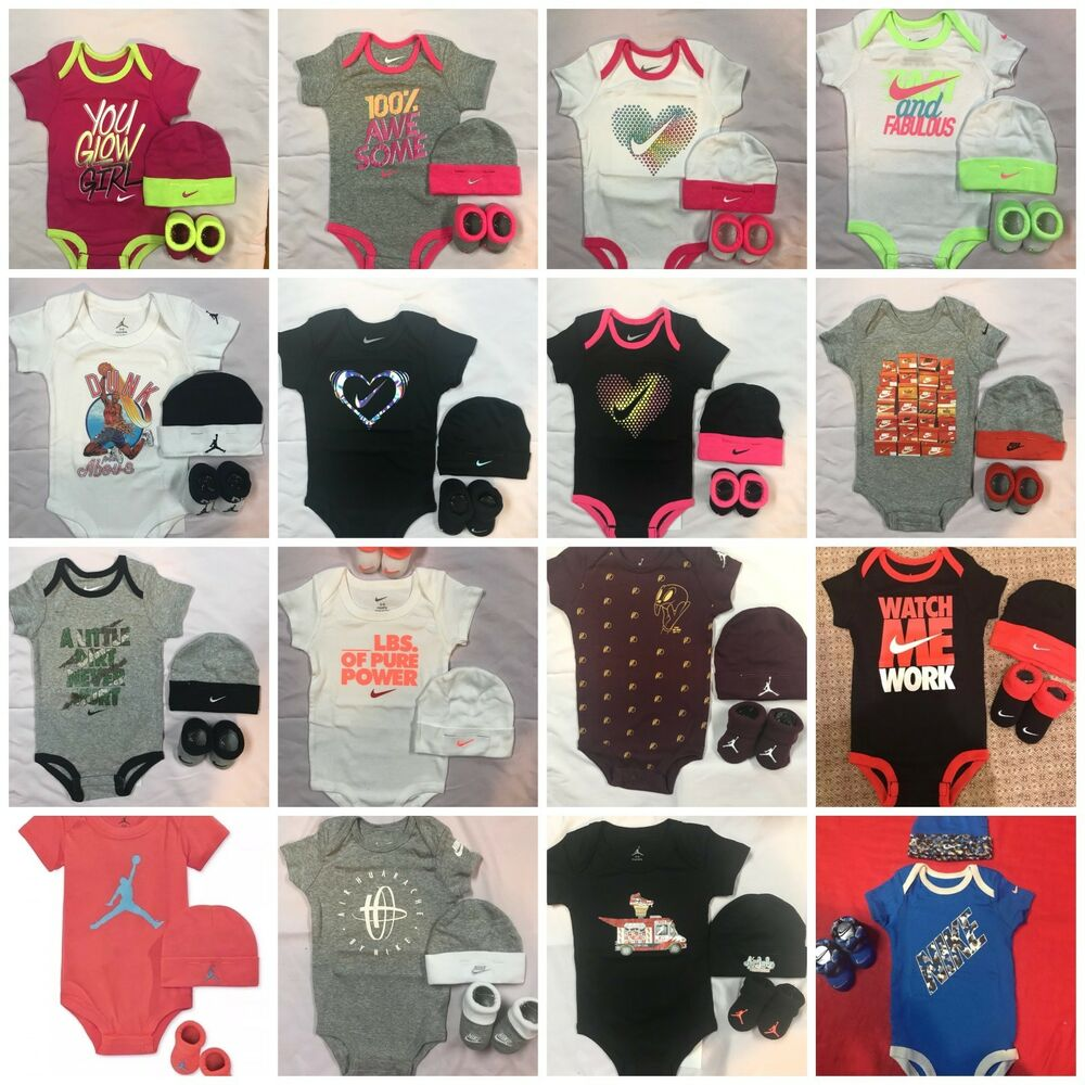 9eaa3d200e72 Details about Nike Jordan Infant Girl Boy 3 Piece Gift Set Bodysuit Booties  Cap 0 6 6 12 Mo