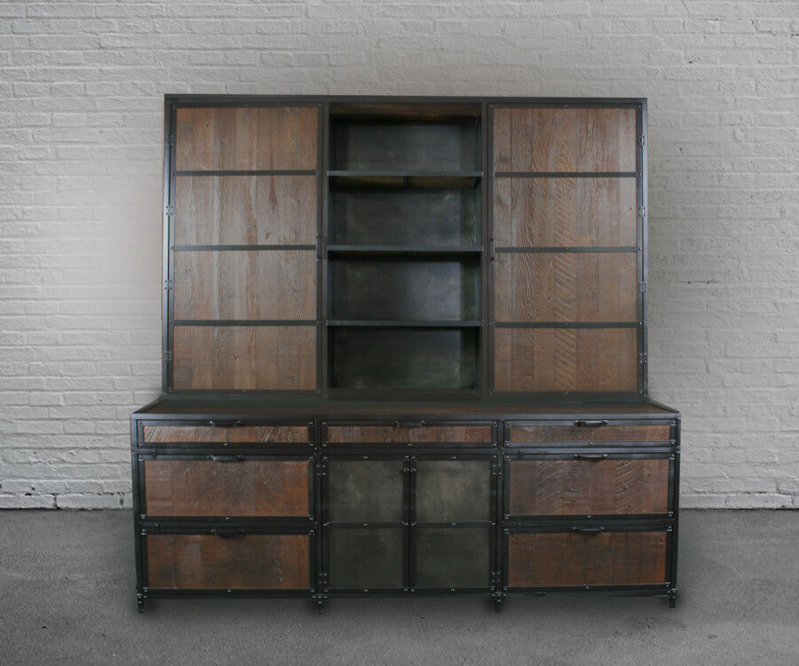 Industrial File Cabinet With Hutch Reclaimed Wood Filing