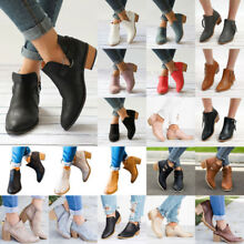 Womens High Heel Block Short Ankle Boots Booties Casual Zipper Flat Shoes Size